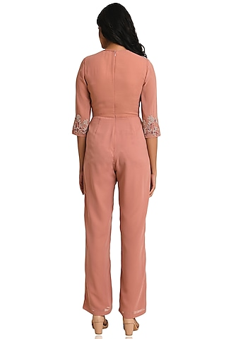 Pink Embroidered Jumpsuit by Attic Salt
