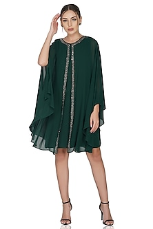 Green Embellished Layered Dress by Attic Salt