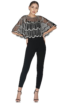 Black Tiered Embellished Shrug by Attic Salt