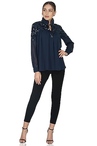 Navy Blue Sequins Embellished Top by Attic Salt