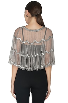Beige Embellished Tiered Shrug by Attic Salt