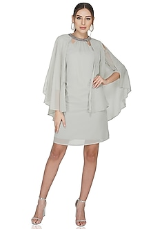 Grey Embellished Dress With Cape Sleeves by Attic Salt