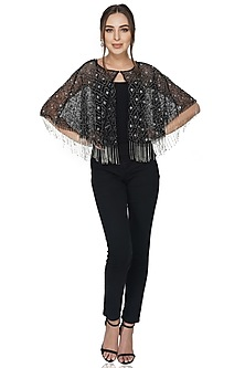 Black Beaded Embellished Shrug by Attic Salt
