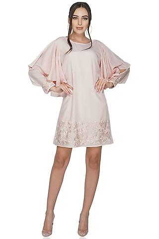 Beige Thread Embellished Dress by Attic Salt