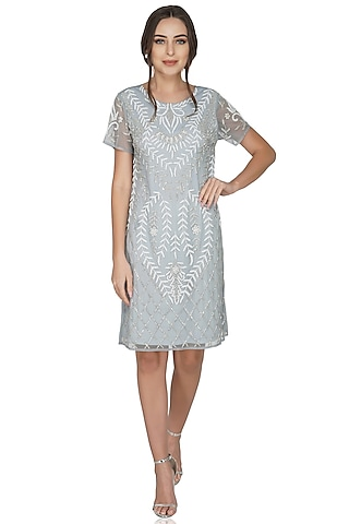 Silver Grey Embellished Dress by Attic Salt