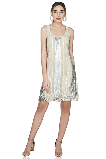 Beige Sequins Embellished Dress by Attic Salt