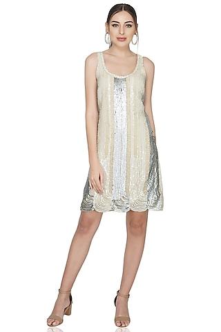 Beige Sequins Embellished Dress by Attic Salt