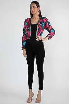 Red Printed Embellished Jacket by Attic Salt
