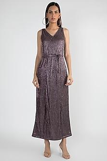 Maroon Woven V-Neck Dress by Attic Salt