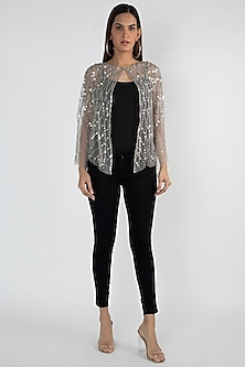 Beige Sequins Embellished Shrug Jacket by Attic Salt