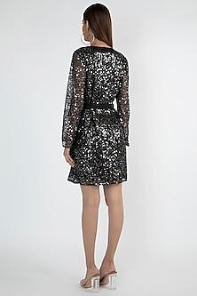 Black Embellished Wrap Dress by Attic Salt