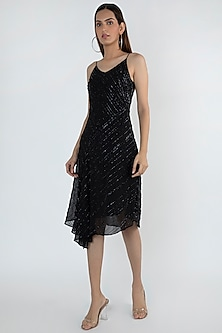 Black Embellished Bias Cut Dress by Attic Salt