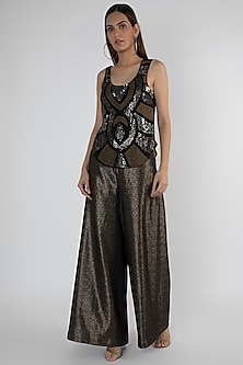 Black Embellished Polyester Tank Top by Attic Salt