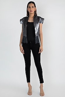 Grey Sequins Embellished Jacket by Attic Salt