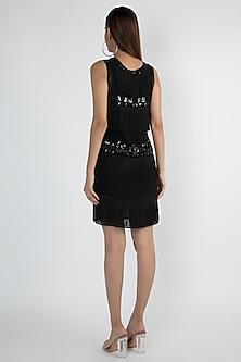 Black Embellished Flapper Dress by Attic Salt