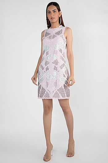 Blush Pink Embellished Dress by Attic Salt