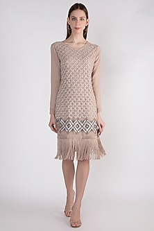 Beige Embellished Polyester Dress by Attic Salt
