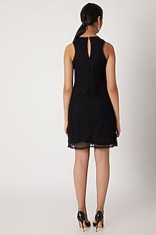 Black Embellished Stretchable Dress by Attic Salt