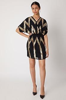Black Embellished Wrap Style Dress by Attic Salt