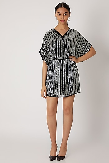 Black Sequins Embellished Wrap Style Dress by Attic Salt