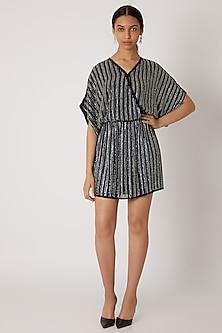 Black Sequins Embellished Wrap Style Dress by Attic Salt
