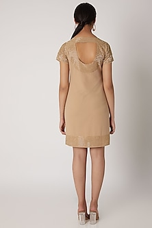 Beige & Golden Embellished Dress by Attic Salt