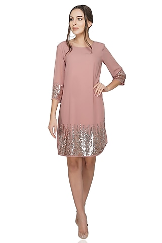 Dusty Pink Embellished Dress by Attic Salt