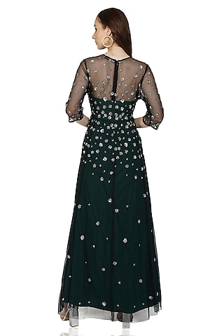 Green Embellished Gown by Attic Salt