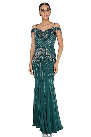 Green Embellished Off Shoulder Dress by Attic Salt