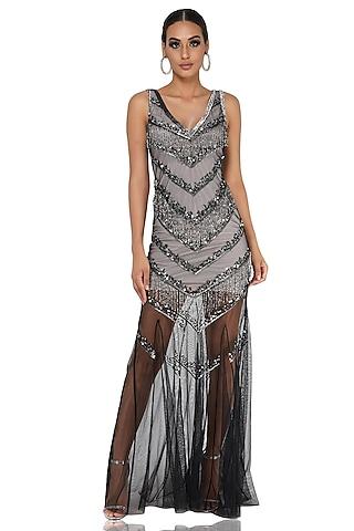 Black Embellished Gown by Attic Salt