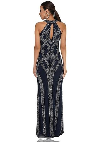 Navy Blue Embellished Gown by Attic Salt