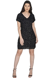 Black Embellished Mini Dress by Attic Salt