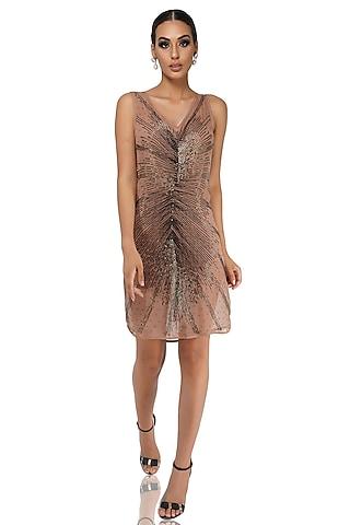 Brown Embellished Dress by Attic Salt
