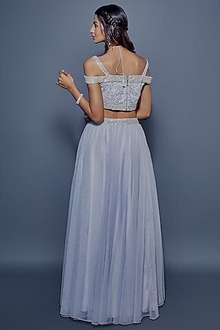 Blue Embroidered Lehenga Set by ASRA