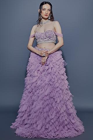 Amethyst Purple Embroidered Lehenga Set by ASRA
