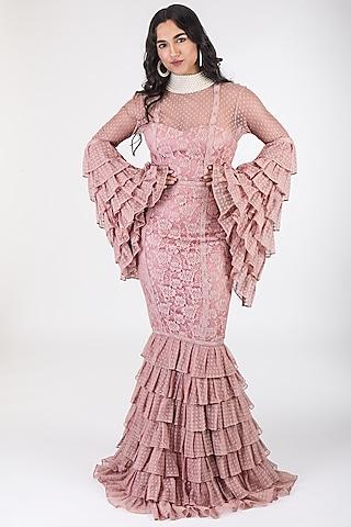 Vintage Pink Embroidered Mermaid Dress by ASRA