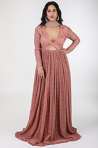 Coral Pink Pearl Maxi Dress by ASRA