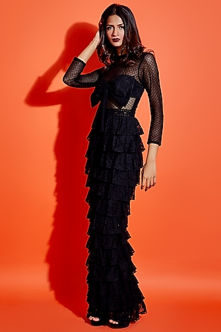 Black Layered Maxi Dress by ASRA