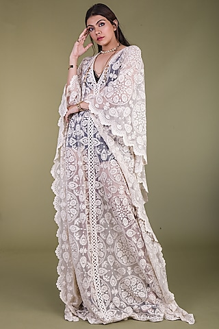 Off White Embroidered Kaftan by ASRA