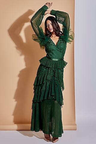 Green Layered Maxi Dress With Belt by ASRA