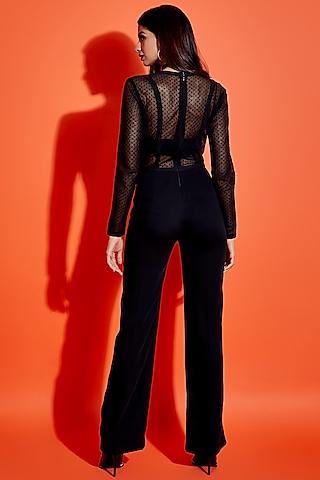 Black Sheer Lace Jumpsuit by ASRA