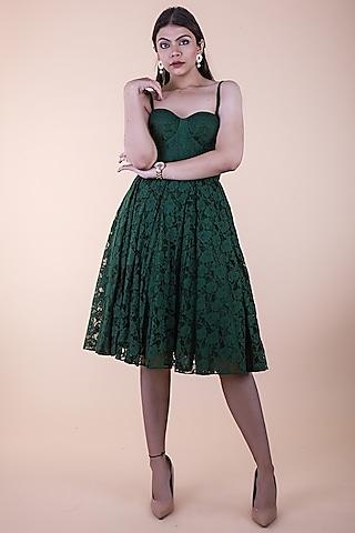 Green Lace Mini Dress by ASRA