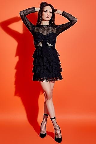 Black Layered Mini Dress by ASRA