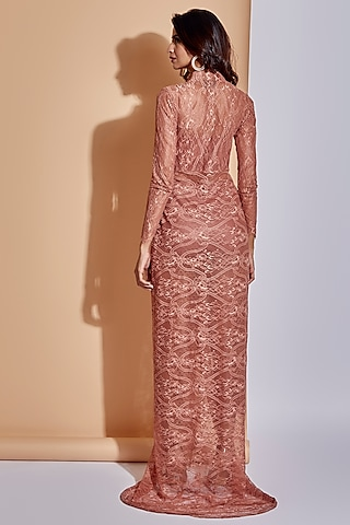 Coral Pink Maxi Dress With Slit by ASRA
