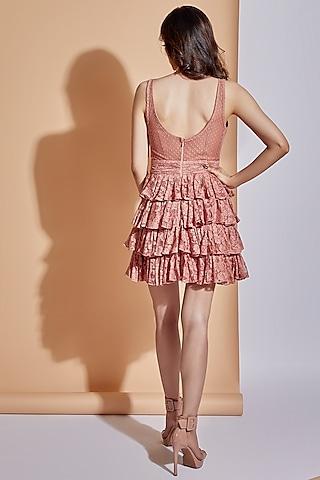 Coral Pink Layered Mini Dress by ASRA