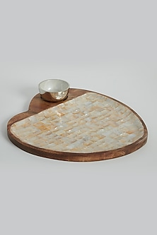 Ivory Heart Shape Platter With Dip Bowl by Assemblage