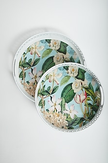 Multi Colored Tropical Floral Trays (Set of 2) by Assemblage