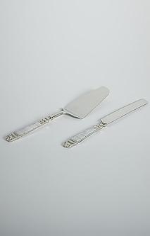 Silver Steel Cake Knife & Spatula Set by Assemblage