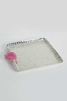 Silver Square Nickel Plated Tray by Assemblage