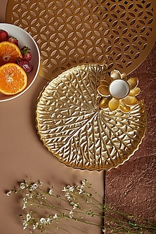 Gold Lotus T-Light Platter by Assemblage